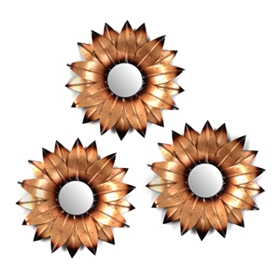 Metal Flower Mirror, Set of 3
