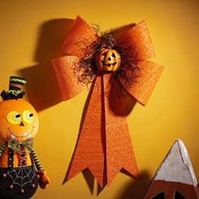 LED Pumpkin Glitter Bow