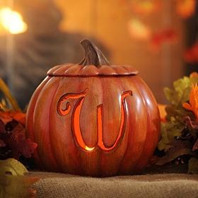Pre-Lit Monogram W Pumpkin