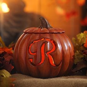 Pre-Lit Monogram R Pumpkin