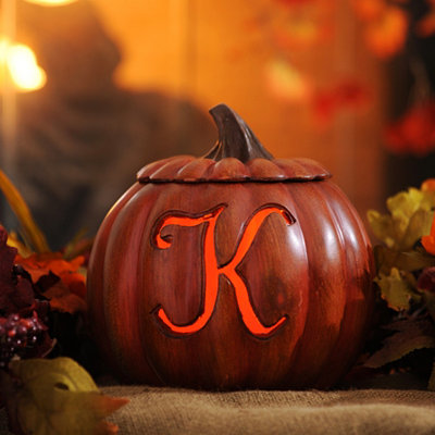 Pre-Lit Monogram K Pumpkin