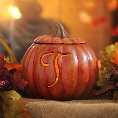 Pre-Lit Monogram T Pumpkin
