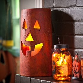 Ceramic Jack O' Lantern Hurricane, 14in.