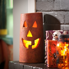 Ceramic Jack O' Lantern Hurricane, 11in.