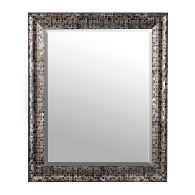 Black Mosaic Framed Mirror, 28x34