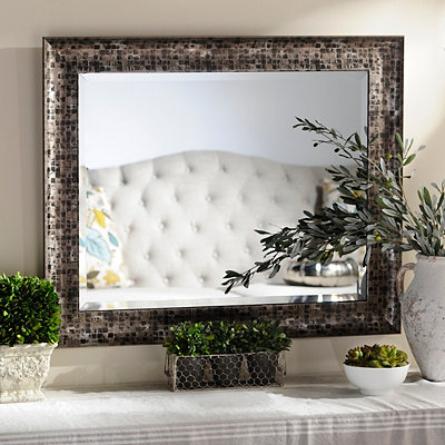 Black Mosaic Framed Mirror, 28x34 in.