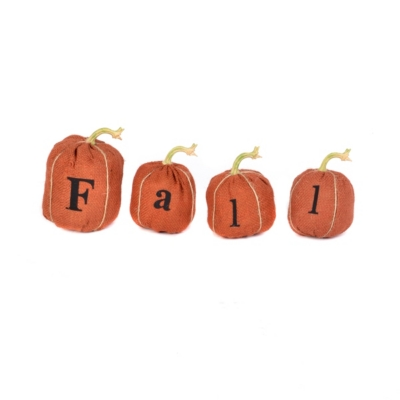 Burlap Pumpkin, Set of 4