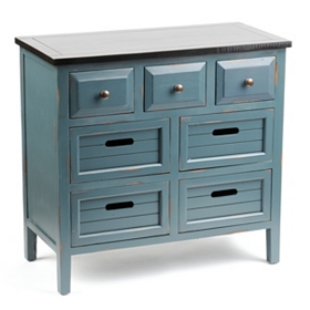 Wood Blue 7-Drawer Chest