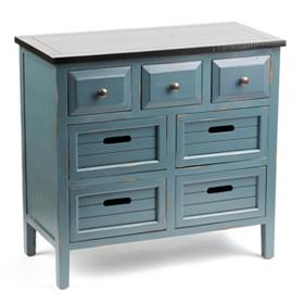 Wood Blue 7-Drawer Chest