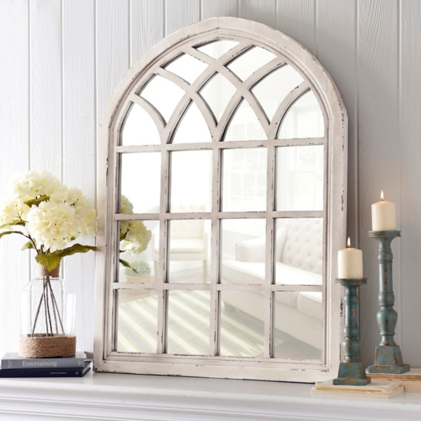 Bathroom Mirrors Kirklands distressed cream sadie arch mirror | kirklands