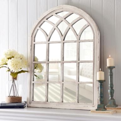 Arch Wall Mirror distressed cream sadie arch mirror | kirklands