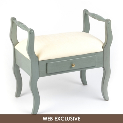 Blue Distressed Vanity Stool
