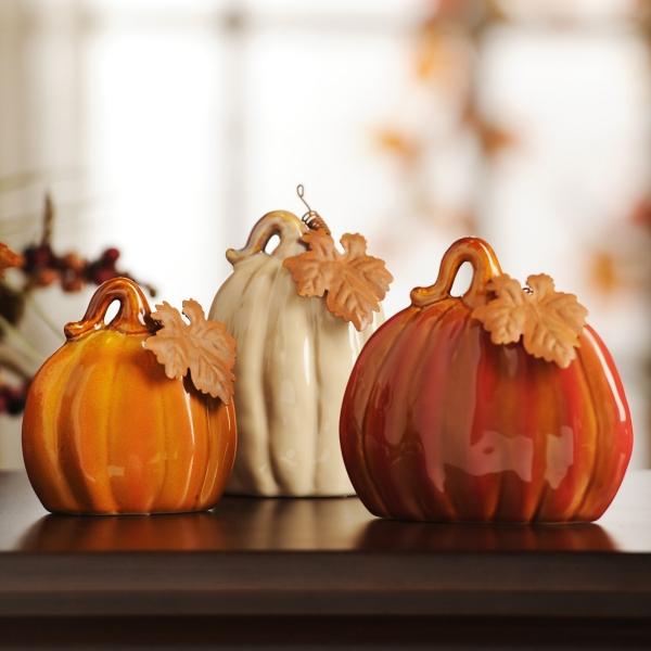 ceramic pumpkins set of 3 - Fall Pumpkins