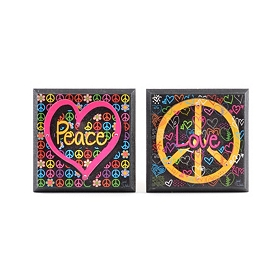 Peace & Love Plaque, Set of 2