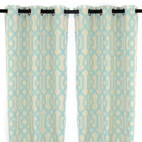 Aqua Grommet Gatehill Curtain Panel, Set of 2