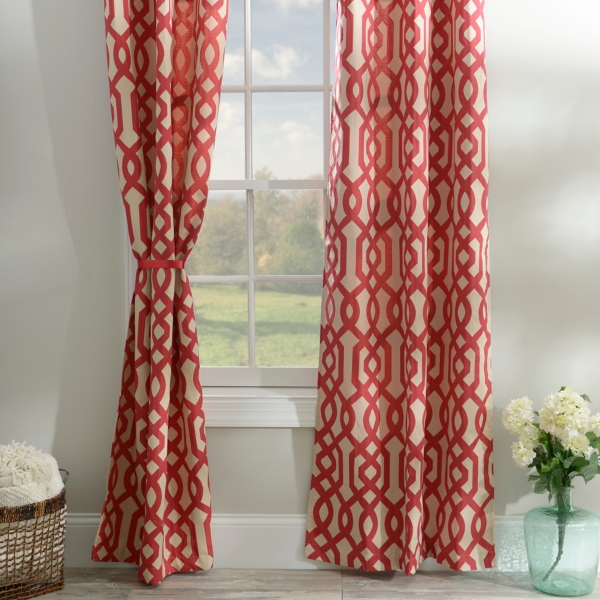 Red Gatehill Curtain Panel Set 84 In