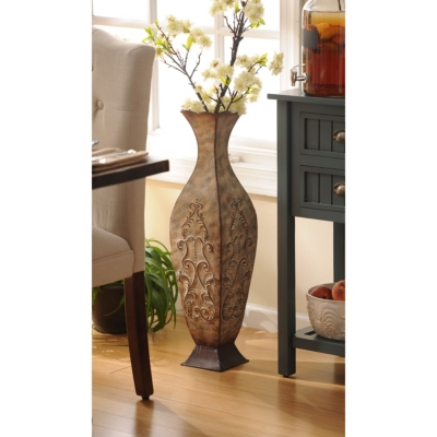 Distressed Cream Metal Floor Vase