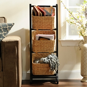 Black Magazine Basket Tower