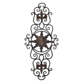 Metal Diana Floral Scrolled Plaque