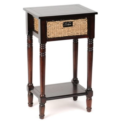 Mahogany Side Table With Wicker Basket