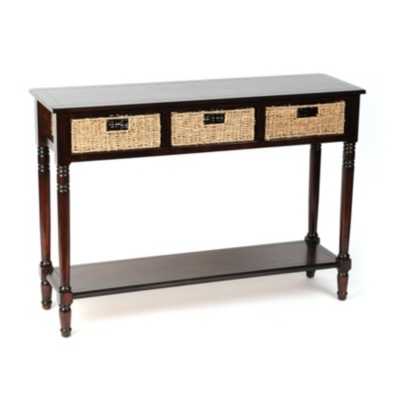 Brown Storage Basket Console Table