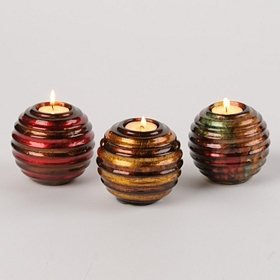 Metallic Ridge Sphere Votive Holder