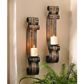 Pierced Metal Aladdin Sconce, Set of 2