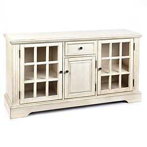 Wood Cream 3-Door Media Cabinet