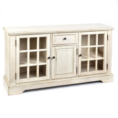 Wood Cream 3-Door Media Cabinet