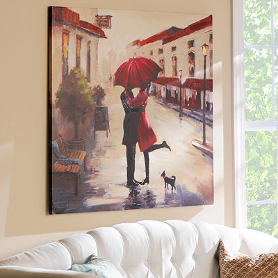 Red Umbrella Couple Canvas Art Print