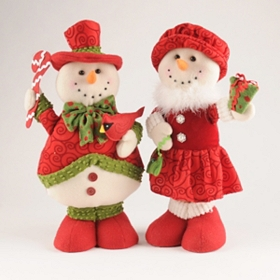 Plush Snowman Boy & Girl Statues