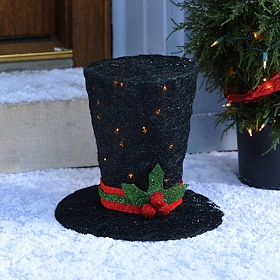 Pre-Lit Black Sisal Top Hat