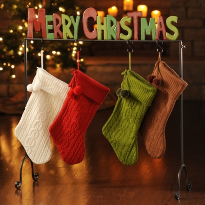 Red and Green Merry Christmas Stocking Holder