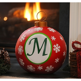 Red Snowflake Monogram M Ornament