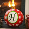 Red Snowflake Monogram H Ornament
