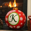Red Snowflake Monogram K Ornament