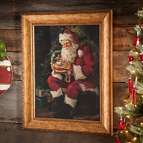 Santa Snow Globe Framed Art Print