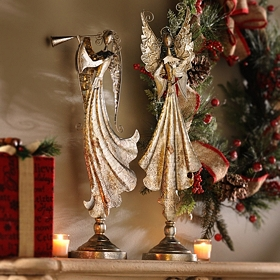 Champagne Christmas Angel Statue