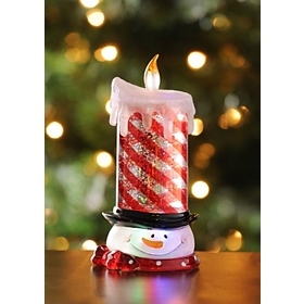 LED Glitter Snowman Candle