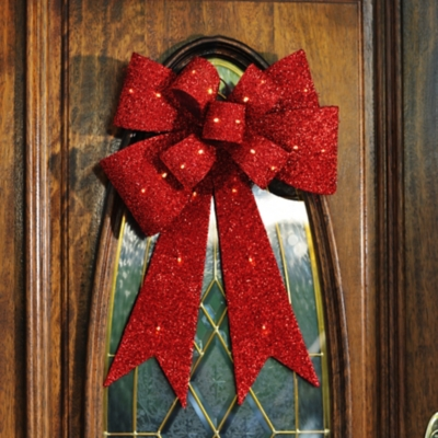 Pre-Lit Red Tinsel Bow