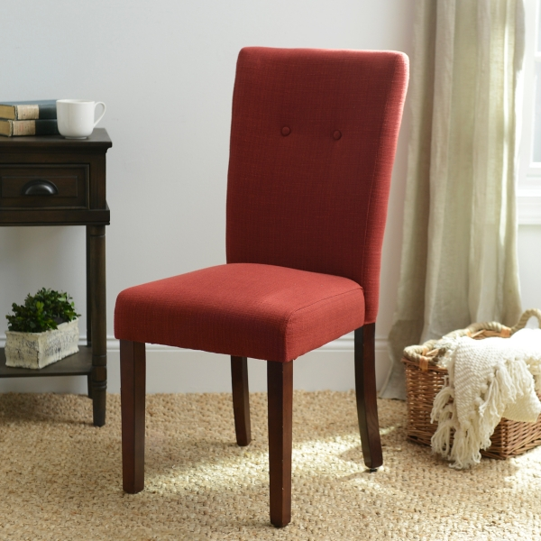 Merveilleux Red Flame Parsons Chair