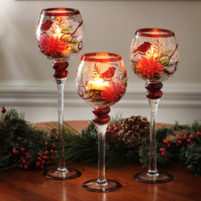 Poinsettia Crackle Glass Charisma, Set of 3