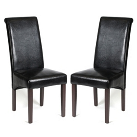 Black Faux Leather Parson, Set of 2
