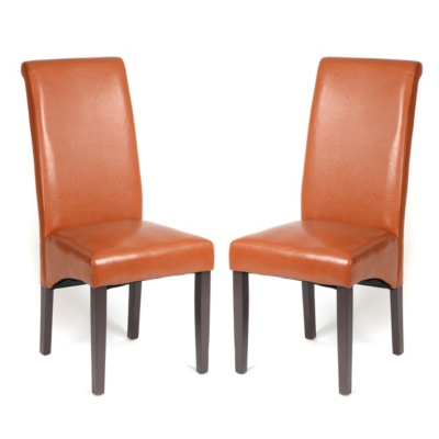 Camel Faux Leather Parson, Set of 2