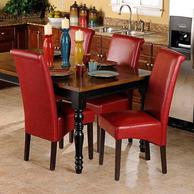 Red Faux Leather Parsons Chair, Set of 2