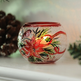 Poinsettia Crackle Glass Votive Holder