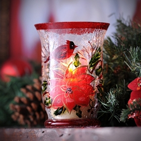 Poinsettia Crackle Glass Hurricane