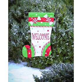 Monogram Christmas Stocking Flag