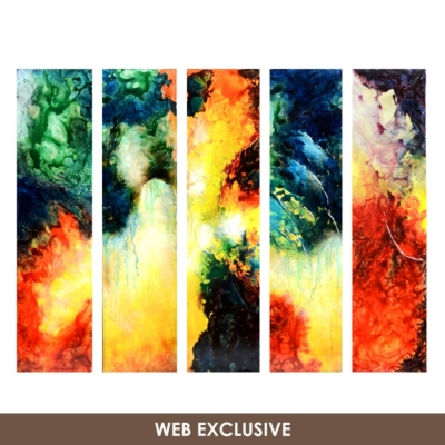 Abstract Venezia Canvas Painting, Set of 5