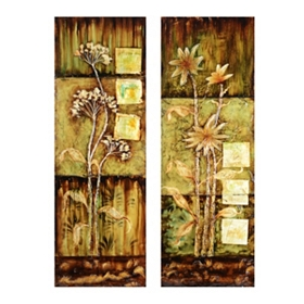 Rustica Flowers Canvas Art Print, Set of 2